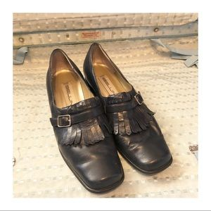 Cute Vintage Leather Shoes by Bellini, Navy, 7.5